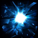 Blue techno style vector explosion. Shatter Glass. Vector illustration Royalty Free Stock Photo