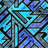 Blue technological seamless pattern royalty free illustration