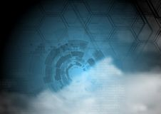 Blue technology background on cloudy sky Stock Photo