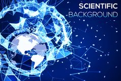 Blue technology background. Geography concept. Glowing blue plexus structure backdrop with Earth planet and particles. Abstract geometric network with Stock Photos
