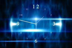 Blue technology design with clock. Digitally generated blue technology design with clock stock illustration