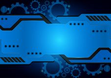 Blue technology gear vector abstract background.  Stock Images