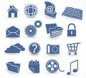 Blue technology icon set Stock Images