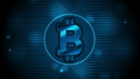 Blue technology video animation with bitcoin emblem. Blue technology motion design with bitcoin money emblem and circuit board lines. Internet virtual digital stock video footage