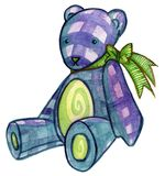 Blue Teddy Bear. With ribbon Stock Images