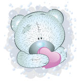 Blue teddy bear with heart Stock Photos