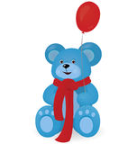 Blue Teddy bear with red balloon Royalty Free Stock Image