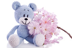 Blue teddy bear in spring Royalty Free Stock Image