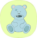 Blue teddy bear (sticker) Stock Image