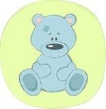 Blue teddy bear (sticker) Stock Image