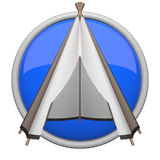 Blue teepee icon. Teepee icon, blue for things such as camping and outdoors Stock Photo