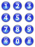 Blue telephone buttons. Set of blue telephone buttons stock illustration