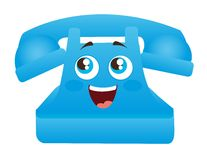 Blue telephone cartoon Stock Image