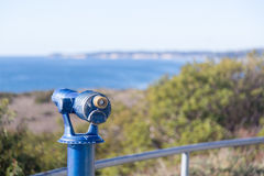 Blue telescope on coast of Malibu Royalty Free Stock Photos