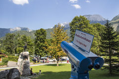 Blue telescope for looking at the Kehlstein, Germany, 2015. Blue telescope in Schoenau at the Koenigssee lake to look on the top of the mountain Kehlstein Royalty Free Stock Images