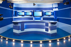 Blue television studio. Interior of television studio ready for work stock photos