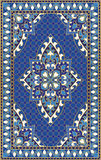 Blue template for carpet. Oriental abstract ornament. Colorful template for carpet, cover, shawl, textile and any surface. Ornamental blue pattern with filigree Royalty Free Stock Photos
