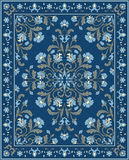 Blue template for carpet. Oriental floral ornament. Colorful template for carpet, shawl, textile and any surface. Ornamental blue pattern with filigree details Stock Photography
