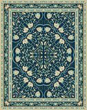 Blue template for carpet. Oriental floral ornament. Colorful template for carpet, textile. Blue pattern with frame Stock Photography