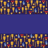 Blue templater with sport cups Stock Image