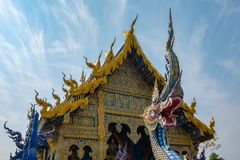 Blue temple in Chiangrai Thailand stock images