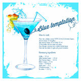 Blue temptation cocktails drawn watercolor Royalty Free Stock Photo