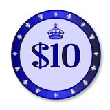 10 Dollar Chip. A blue ten dollar gambling chip over a white background Royalty Free Stock Images