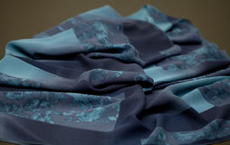 Blue tender colored textile, elegance rippled material Royalty Free Stock Image