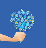 Blue tender forget-me-not  flowers in retro style. Royalty Free Stock Photos
