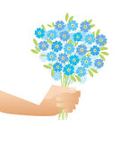 Blue tender forget-me-not  flowers in retro style. Royalty Free Stock Image
