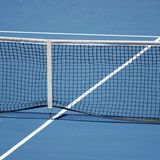 Blue tennis court Stock Photo