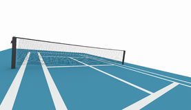 Blue tennis court isolated on white Royalty Free Stock Images