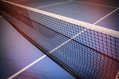 Blue tennis court. Net on blue tennis court sport background Stock Image