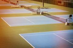 Blue tennis court Royalty Free Stock Photos