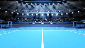 Blue tennis court view and stadium full of spectators with spotlights Stock Images