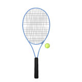 Blue tennis racket with ball. Isolated on white Royalty Free Stock Photos