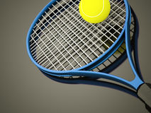 Blue tennis racket with ball rendered on dark Royalty Free Stock Images