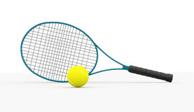 Blue tennis racket with ball Stock Photography