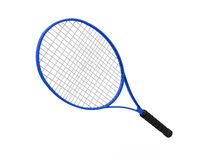 Blue tennis racket isolated on white Royalty Free Stock Photo
