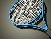 Blue tennis racket rendered Royalty Free Stock Photo