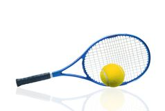 Blue tennis racket and yellow ball isolated white Stock Photos