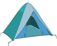 Blue tent. Little textile tent for tourism Stock Images