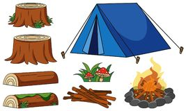 Blue tent and campfire on white background. Illustration royalty free illustration
