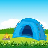 Blue tent on glade Stock Photography