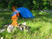 Blue tent behind the bonfire in the forest stock photography