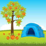 Blue tent under tree Royalty Free Stock Photo