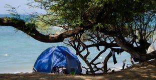 Blue tent at Wailalea Beach Royalty Free Stock Photos