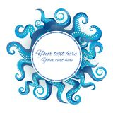 Blue tentacles round frame royalty free illustration