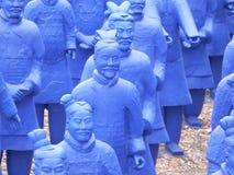 Blue terracota army. Blue terracota warriors lined up Stock Photo