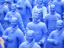 Blue terracota army. Blue terracota warriors lined up Stock Images